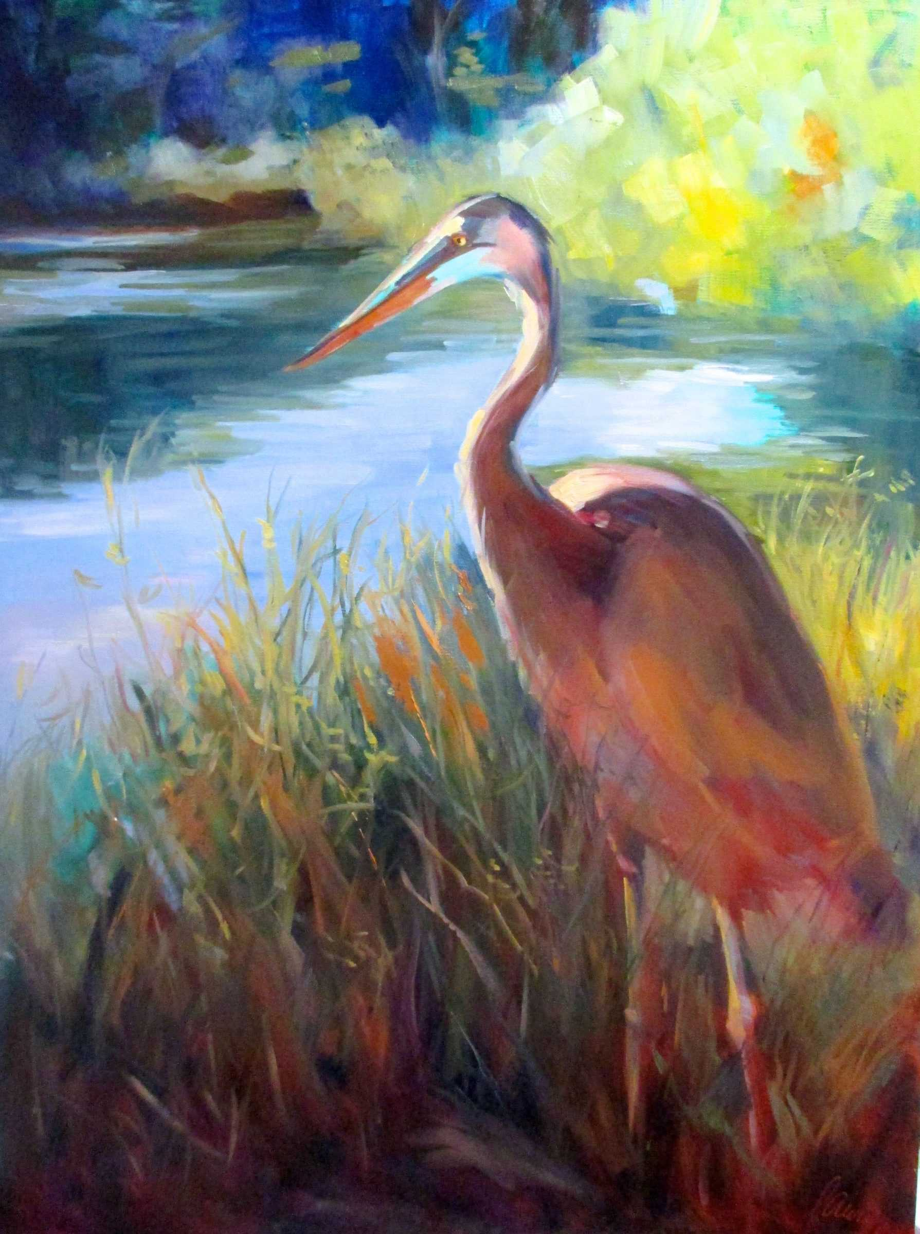 Acrylic painting of Blue Heron on waters edge