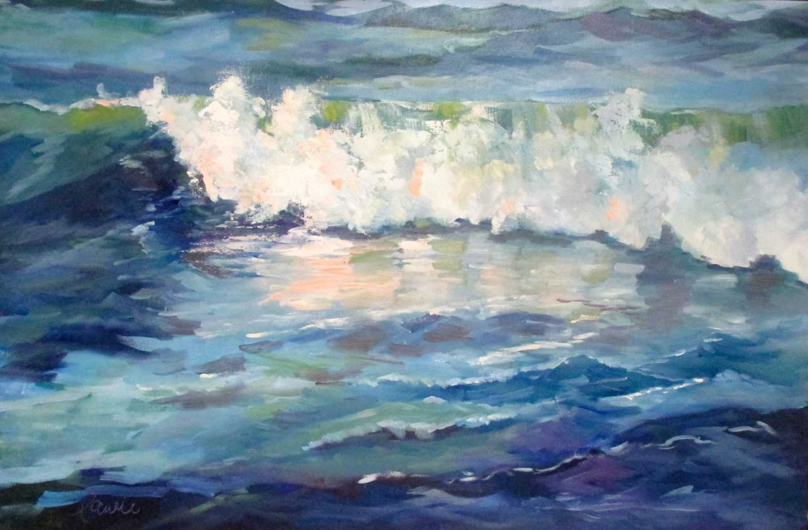 Acrylic ocean painting breaking wave